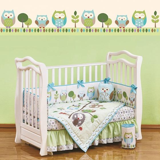Набор постельного белья для новорожденных Summer Owls, 7 предметовДетское постельное белье<br>Набор постельного белья для новорожденных Summer Owls, 7 предметов<br>