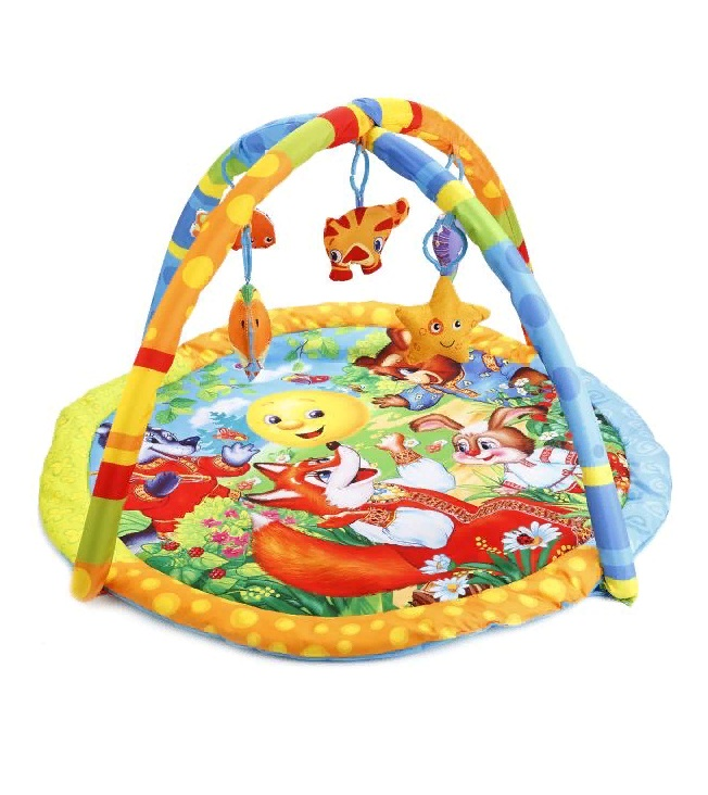 Коврик детский - Колобок, с мягкими игрушками на подвеске, в сумкеДетские развивающие коврики для новорожденных<br>Коврик детский - Колобок, с мягкими игрушками на подвеске, в сумке<br>