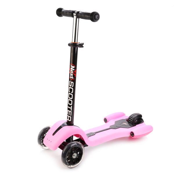 Самокат 3-х колёсный со световыми эффектами, розовыйТрехколесные самокаты<br>Самокат 3-х колёсный со световыми эффектами, розовый<br>
