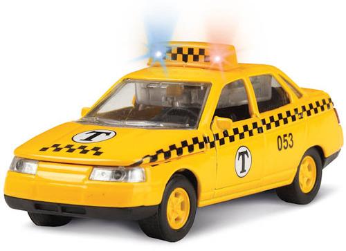Купить Инерционная металлическая машина Lada 2110 - Такси, свет, звук 1:43, Технопарк