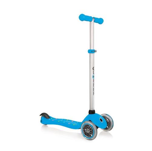 Купить Трехколесный самокат Globber Primo Starlight, светящаяся платформа, голубой