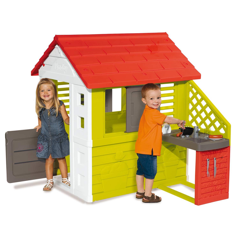 Купить Игровой домик с кухней, красный, размер 145 х 110 х 127 см., Smoby
