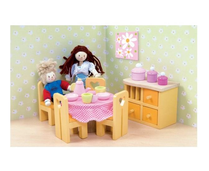 Кукольная мебель деревянная «Сахарная слива – Столовая»Кукольные домики<br>Кукольная мебель деревянная «Сахарная слива – Столовая»<br>