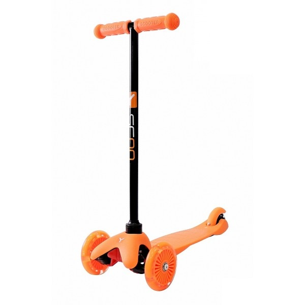 Трехколесный самокат со светящимися колесами RT MINI SHINE A5 orange, 4523RTТрехколесные самокаты<br>Трехколесный самокат со светящимися колесами RT MINI SHINE A5 orange, 4523RT<br>