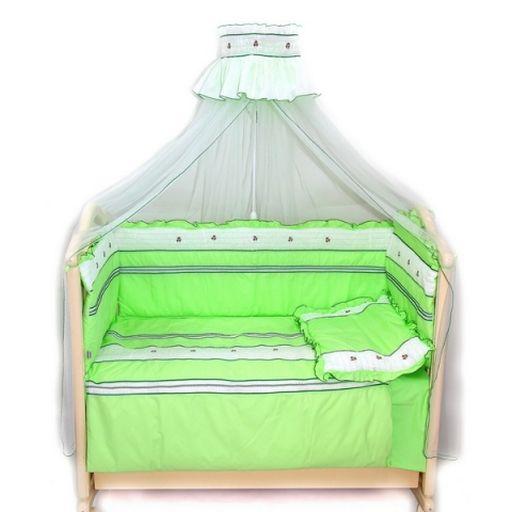Комплект в кроватку - Любавушка, 7 предметов, зелёныйДетское постельное белье<br>Комплект в кроватку - Любавушка, 7 предметов, зелёный<br>