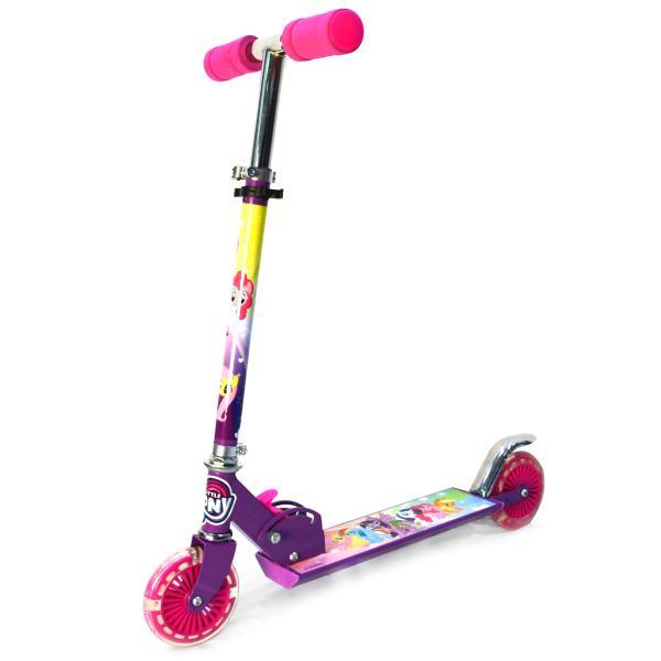 Двухколесный складной самокат – My Little Pony, светящиеся колеса 12 см, розовыйМоя маленькая пони (My Little Pony)<br>Двухколесный складной самокат – My Little Pony, светящиеся колеса 12 см, розовый<br>