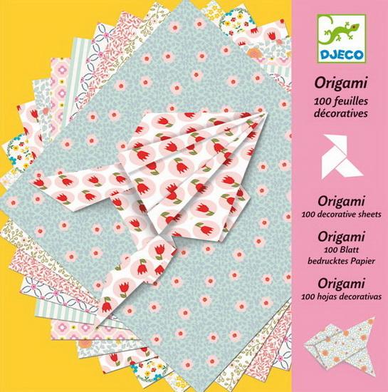 Набор бумаги для Оригами, 100 листов с примерами, Djeco  - купить со скидкой
