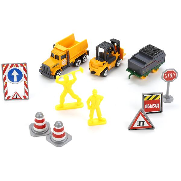 Купить Набор металлических машинок – Стройтехника, 7, 5 см с дорожными знаками, Технопарк