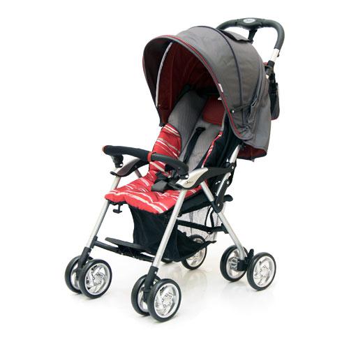 Коляска прогулочная Elegant, Dark Grey/Red, полоскаДетские коляски Capella Jetem, Baby Care<br>Коляска прогулочная Elegant, Dark Grey/Red, полоска<br>