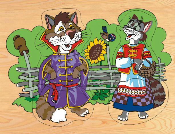 Деревянный пазл в рамке - Кот и кошка, Wooden Toys  - купить со скидкой