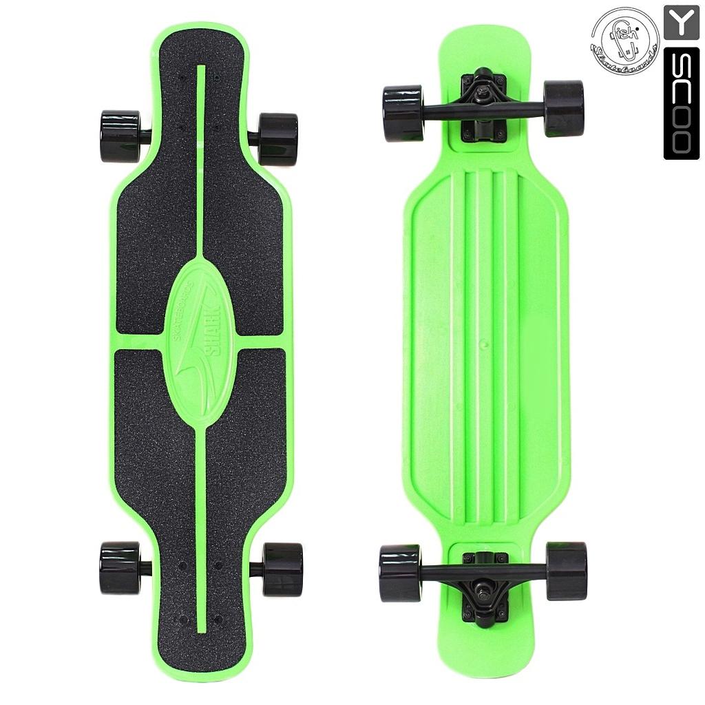 Скейтборд пластиковый Y-Scoo Longboard Shark Tir 31 408-G с сумкой, черно-зеленыйДетские скейтборды<br>Скейтборд пластиковый Y-Scoo Longboard Shark Tir 31 408-G с сумкой, черно-зеленый<br>