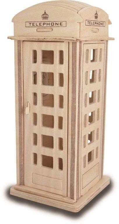 Модель деревянная сборная - Телефонная будкаПазлы объёмные 3D<br>Модель деревянная сборная - Телефонная будка<br>