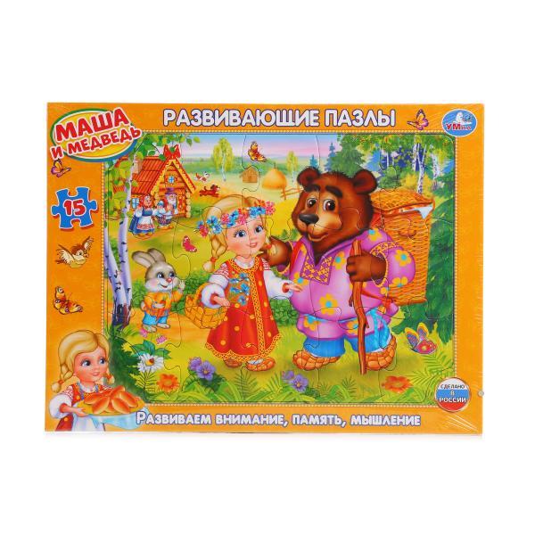 Развивающие пазлы в рамке – Маша и МедведьПазлы для малышей<br>Развивающие пазлы в рамке – Маша и Медведь<br>