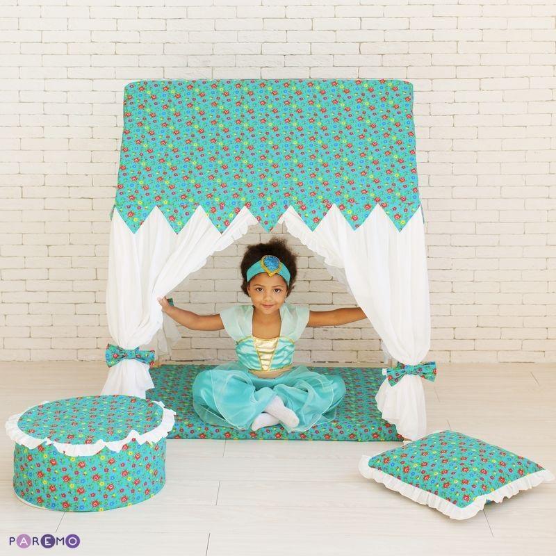 Текстильный домик с пуфиком - Дворец ЖасминДомики-палатки<br>Текстильный домик с пуфиком - Дворец Жасмин<br>