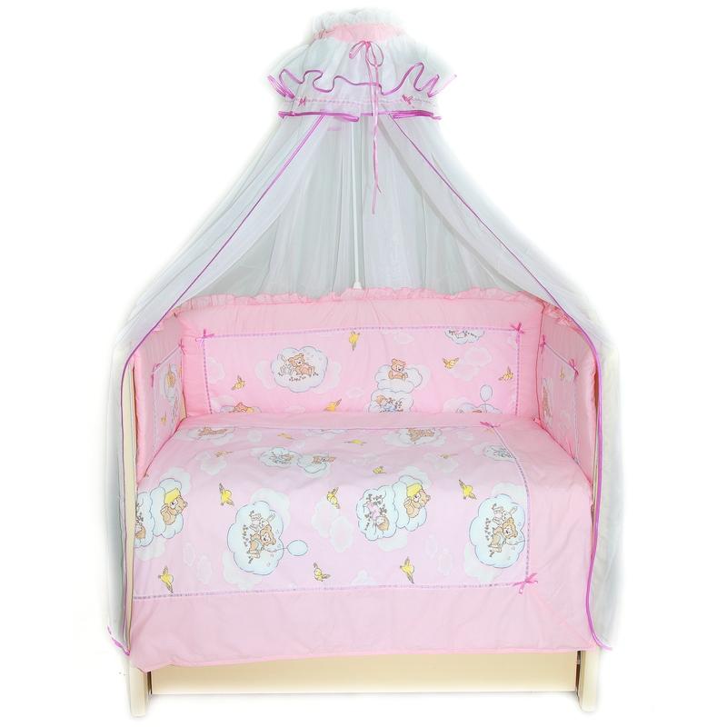 Бампер в кроватку – Сладкий сон, розовыйДетское постельное белье<br>Бампер в кроватку – Сладкий сон, розовый<br>