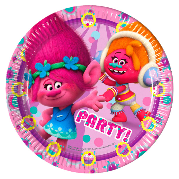 Тарелки из серии Тролли размером 23 см., 8 штукТролли игрушки<br>Тарелки из серии Тролли размером 23 см., 8 штук<br>