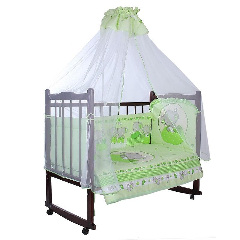 Комплект в кроватку – Слоник Боня, 7 предметов, зеленыйДетское постельное белье<br>Комплект в кроватку – Слоник Боня, 7 предметов, зеленый<br>