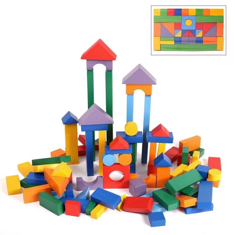 Деревянный конструктор, 85 деталей, окрашенныйДеревянный конструктор<br>Деревянный конструктор, 85 деталей, окрашенный<br>