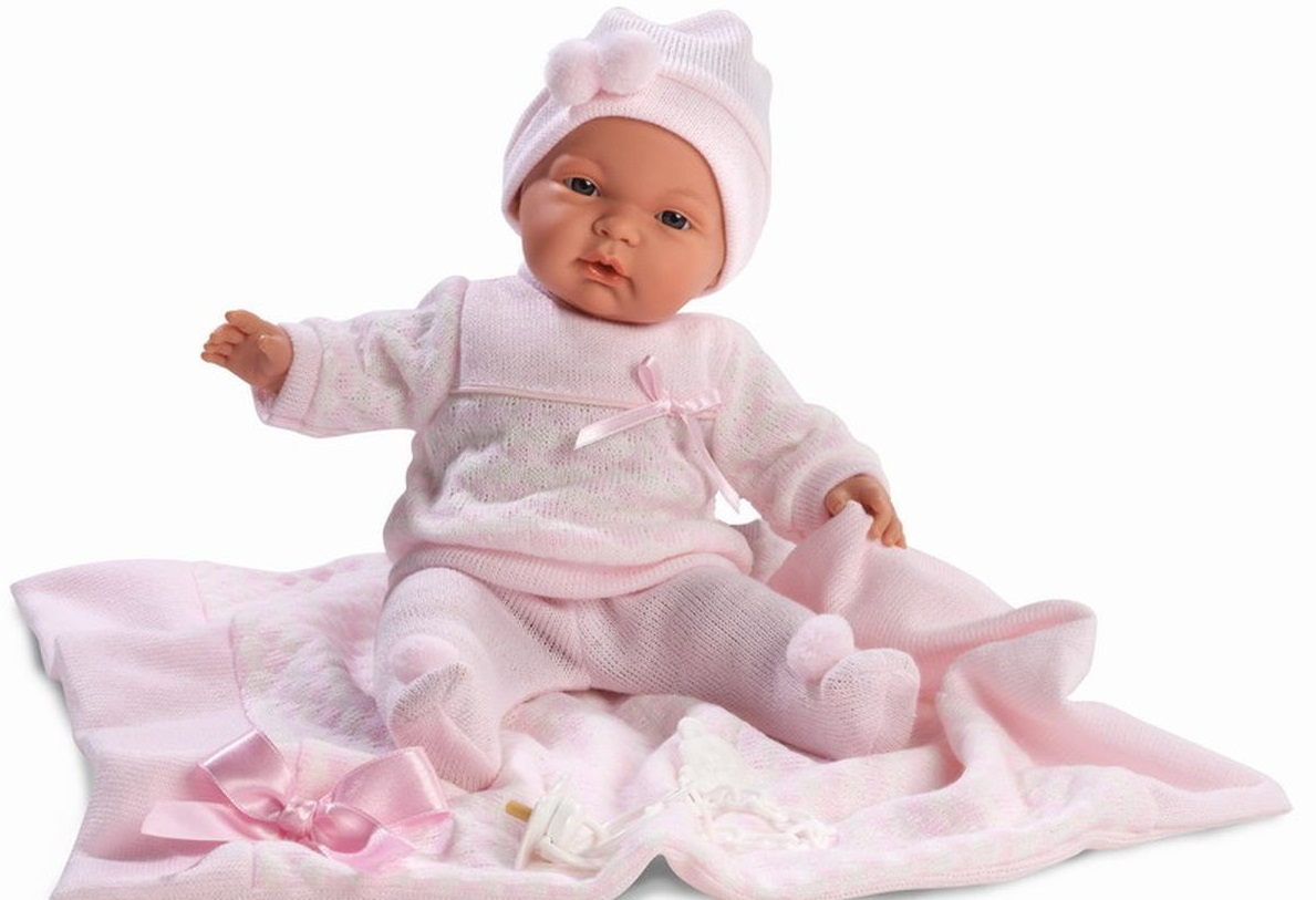 Кукла Жоэль в розовом костюмчике 38 см., с одеяломИспанские куклы Llorens Juan, S.L.<br>Кукла Жоэль в розовом костюмчике 38 см., с одеялом<br>