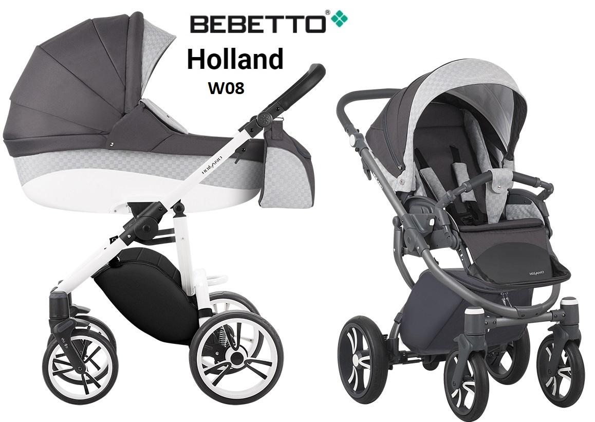 Детская коляска Bebetto Holland New - 2 в 1 - шасси белый/BIA - W08Детские коляски 2 в 1<br>Детская коляска Bebetto Holland New - 2 в 1 - шасси белый/BIA - W08<br>
