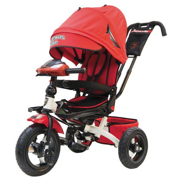 Купить Велосипед 3-колесный Ltsport цвет – красно/белый, с резиновыми надувными колесами 12 и 10 дюймов, складной руль, светомузыкальная панель, Lexus Trike