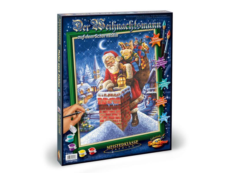 Купить Раскраска по номерам – Санта Клаус на крыше, 40 х 50 см, Schipper