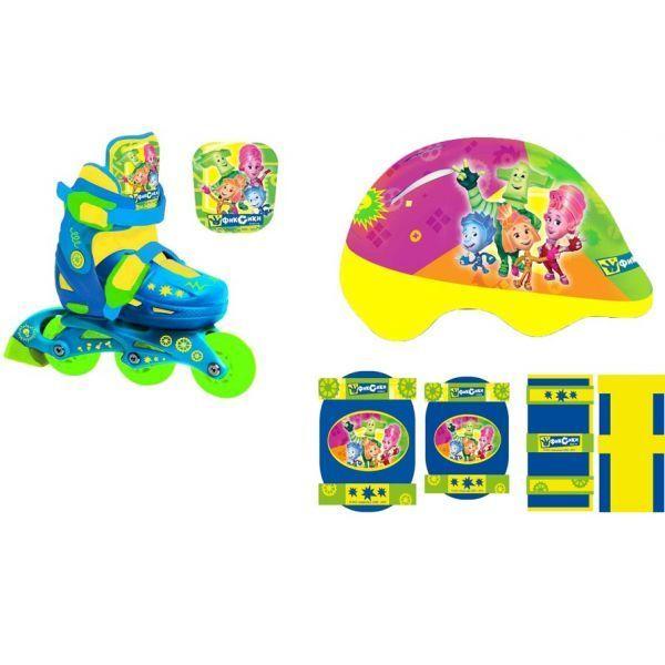 Купить Набор раздвижных роликов с пластиковой рамой, размер 28-31 и комплекта защиты с шлемом, дизайн Фиксики PSETsim), Shantou