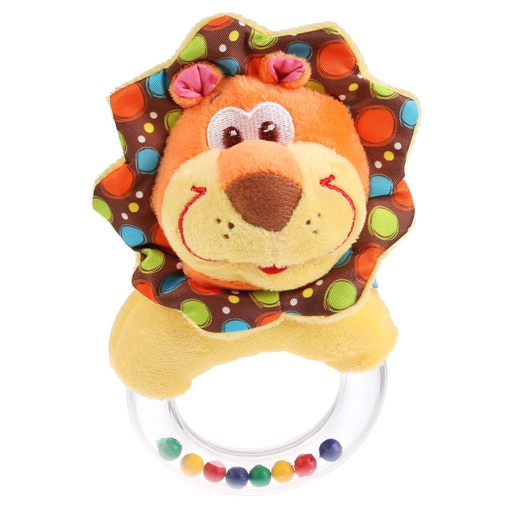 Текстильная игрушка-погремушка на кольце - Лев фото