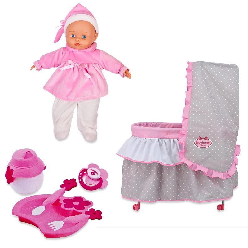 Набор Bambolina Boutique – кровать с постельным бельем, частично мягконабивная кукла и набор аксессуаровПупсы<br>Набор Bambolina Boutique – кровать с постельным бельем, частично мягконабивная кукла и набор аксессуаров<br>