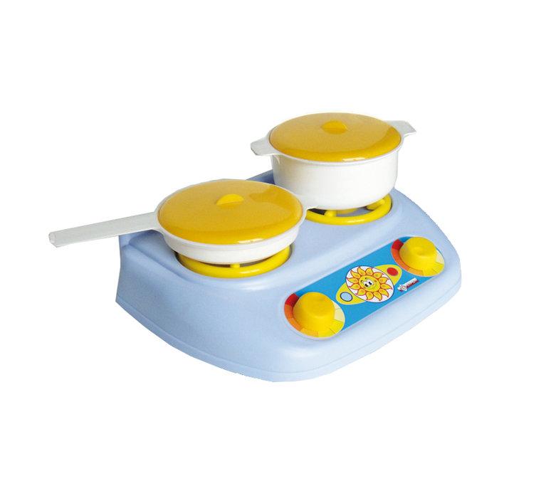 Детский кухонный набор с газовой плитой, кастрюлей и сковородойАксессуары и техника для детской кухни<br>Детский кухонный набор с газовой плитой, кастрюлей и сковородой<br>