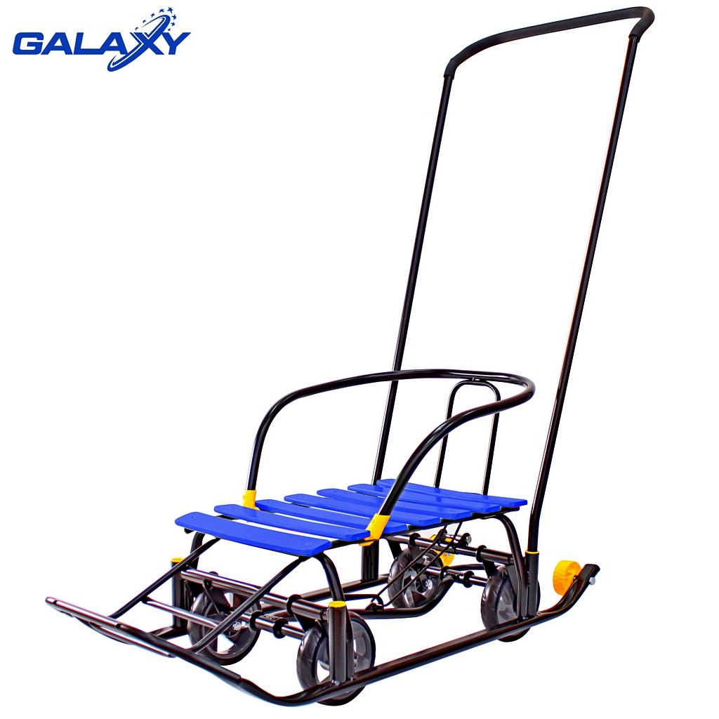 Снегомобиль Snow Galaxy Black Auto синие рейки на больших мягких колесахСанки и сани-коляски<br>Снегомобиль Snow Galaxy Black Auto синие рейки на больших мягких колесах<br>