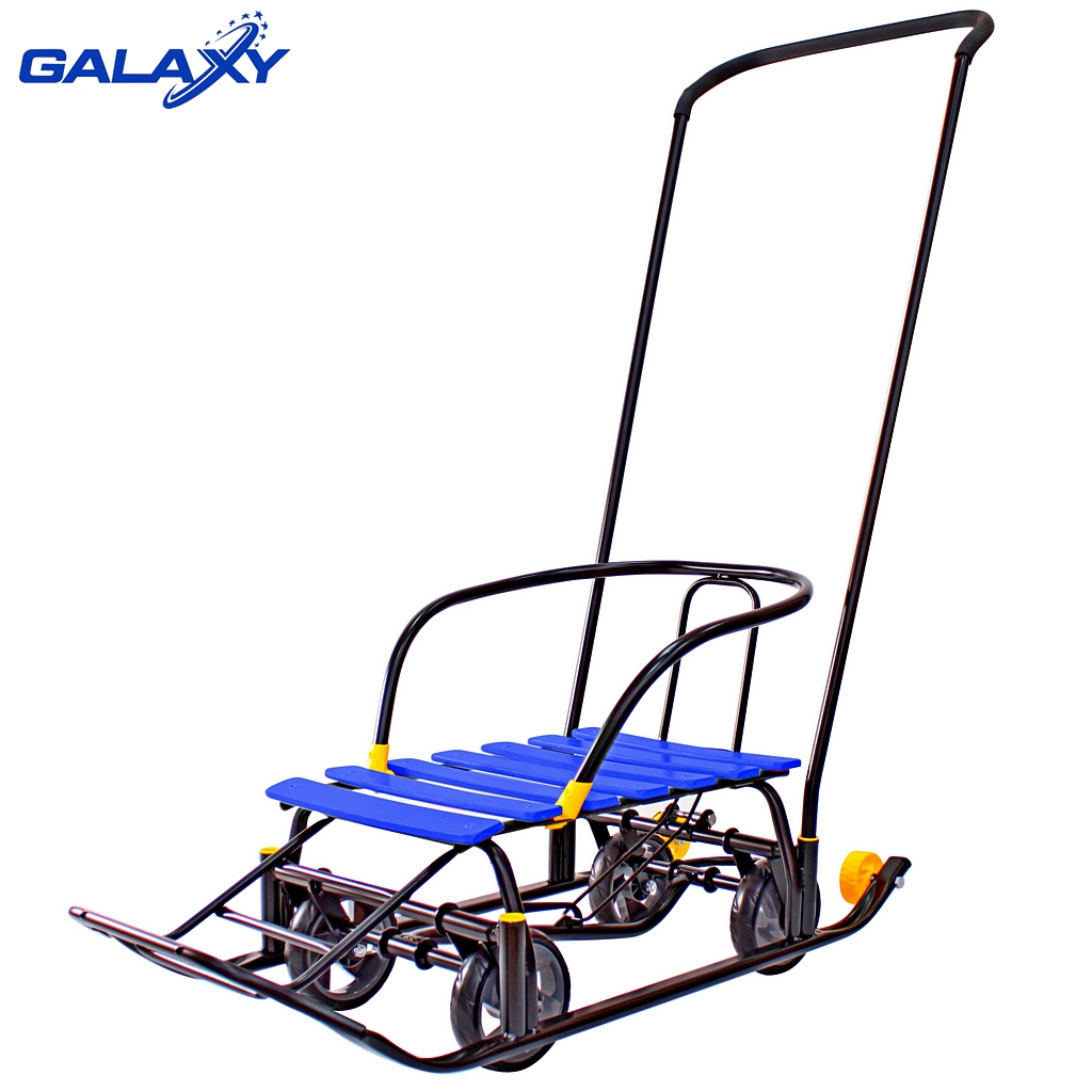 Купить Снегомобиль Snow Galaxy Black Auto синие рейки на больших мягких колесах, Kid Galaxy