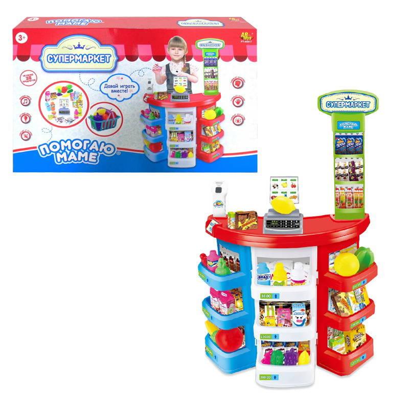 Набор Помогаю Маме - Супермаркет, 38 предметов, свет и звукАксессуары и техника для детской кухни<br>Набор Помогаю Маме - Супермаркет, 38 предметов, свет и звук<br>