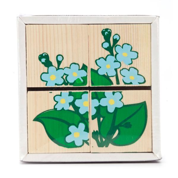 Набор из 4-х кубиков - Цветочки из серии Собери картинкуКубики и конструкторы<br>Набор из 4-х кубиков - Цветочки из серии Собери картинку<br>