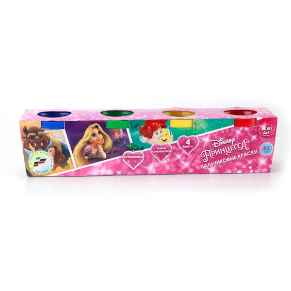 Пальчиковые краски «Принцессы Дисней», 4 цвета