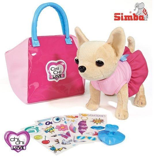 Плюшевая собачка Чихуахуа с сумочкой и набором для декорирования, 20 см.Chi Chi Love - cобачки в сумочке<br>Плюшевая собачка Чихуахуа с сумочкой и набором для декорирования, 20 см.<br>