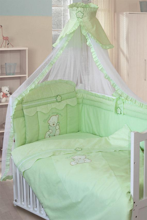 Комплект – Сабина, 7 предметов, зеленыйДетское постельное белье<br>Комплект – Сабина, 7 предметов, зеленый<br>
