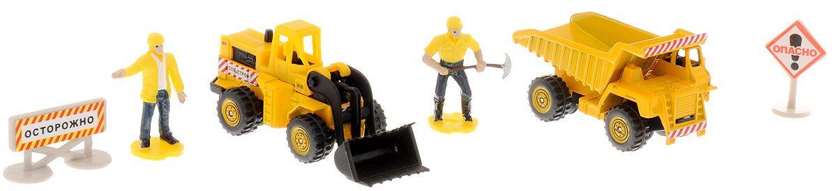 Купить Набор из 2-х металлических моделей Стройтехника с аксессуарами, 7, 5 см, Технопарк