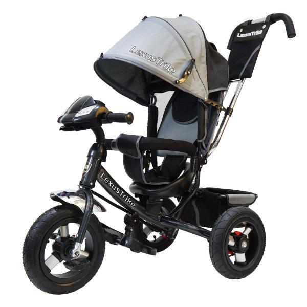 Велосипед 3-х колесный с ручкой управления - Lexus Trike, серый, светомузыкальная панель, надувные колеса диаметром 30 и 25 смВелосипеды детские<br>Велосипед 3-х колесный с ручкой управления - Lexus Trike, серый, светомузыкальная панель, надувные колеса диаметром 30 и 25 см<br>