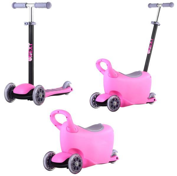 Самокат 3-колесный 3-в-1, управление наклоном, ящик для игрушек, ручка для управления, цвет – розовый