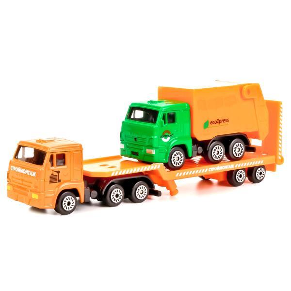 Металлическая машина - Камаз транспортер, 7,5 см с машинкойТрейлеры<br>Металлическая машина - Камаз транспортер, 7,5 см с машинкой<br>