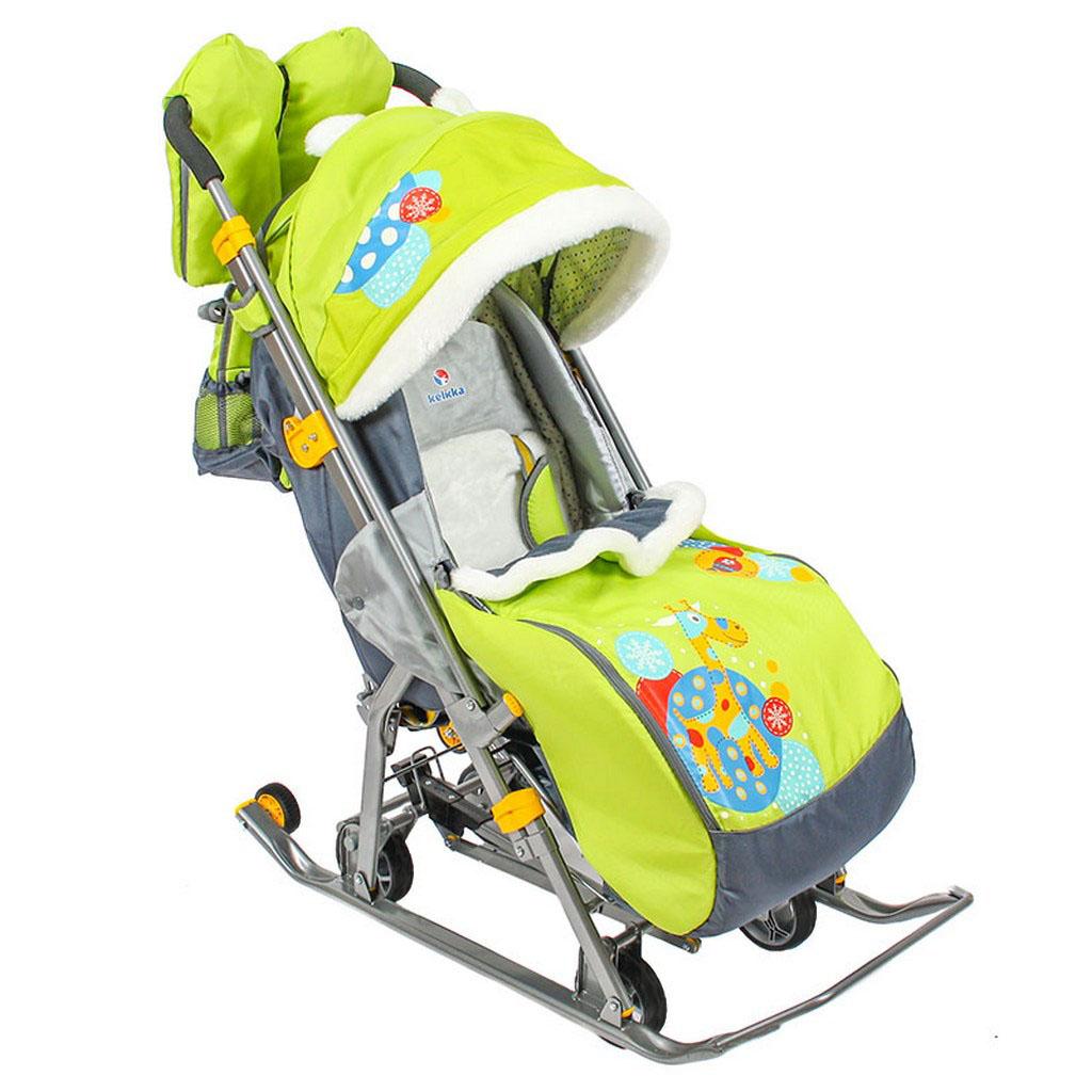 Купить Санки - коляска Kelkka Arctic 159184, цвет – лимонный, на больших колесах, RT
