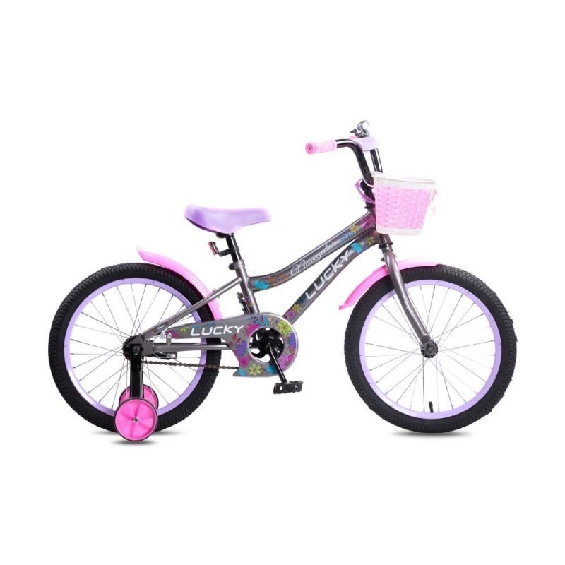Купить Детский велосипед Navigator Lucky серо-розовый, колеса 18 , стальная рама, стальные обода, ножной тормоз