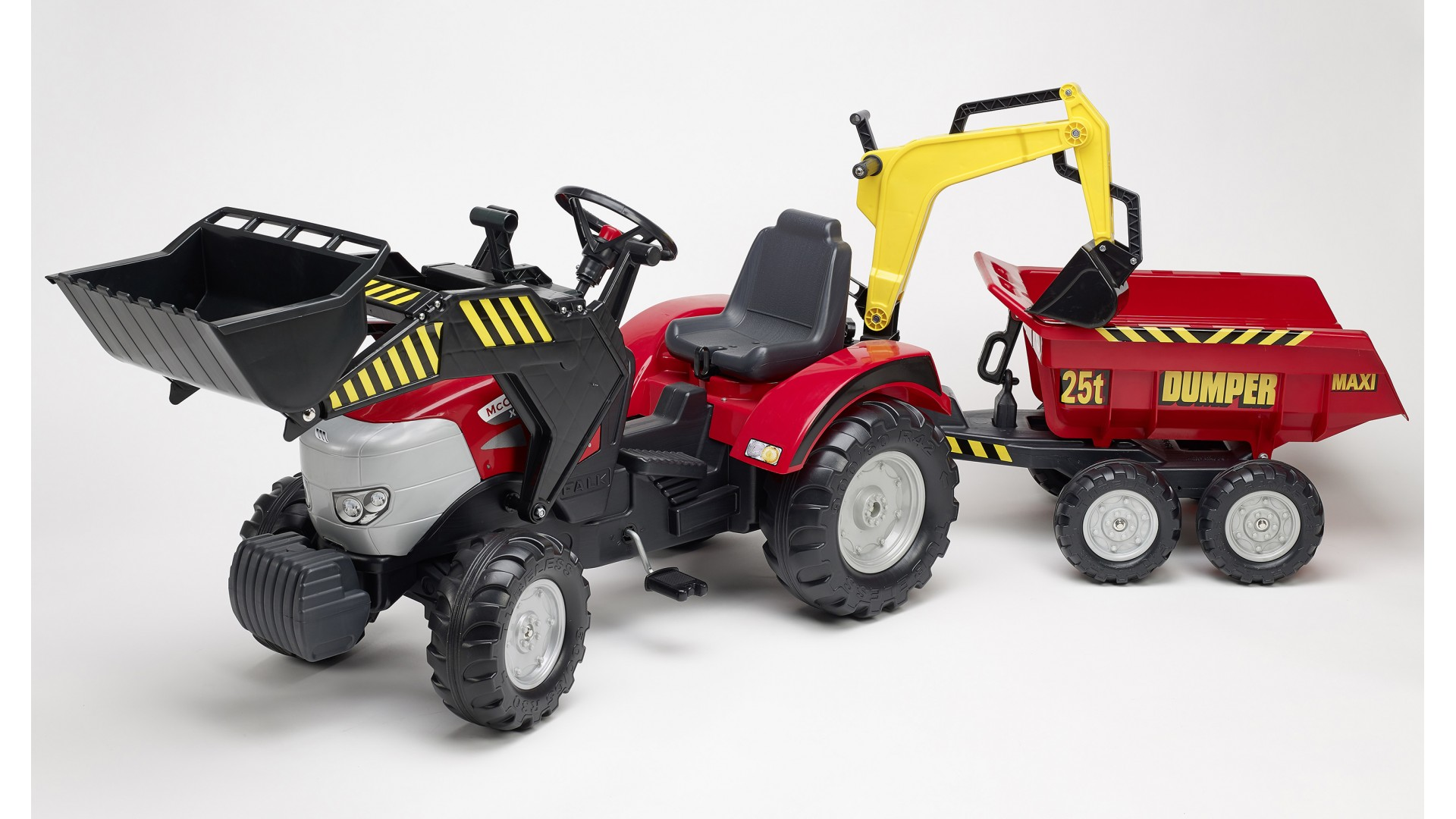 Педальный трактор-экскаватор с прицепом, красный, 225 см