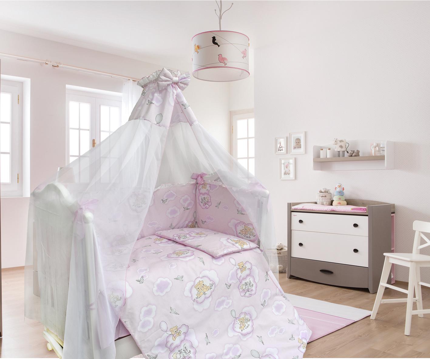Комплект в кроватку - Сладкий сон, 7 предметов, розовыйДетское постельное белье<br>Комплект в кроватку - Сладкий сон, 7 предметов, розовый<br>