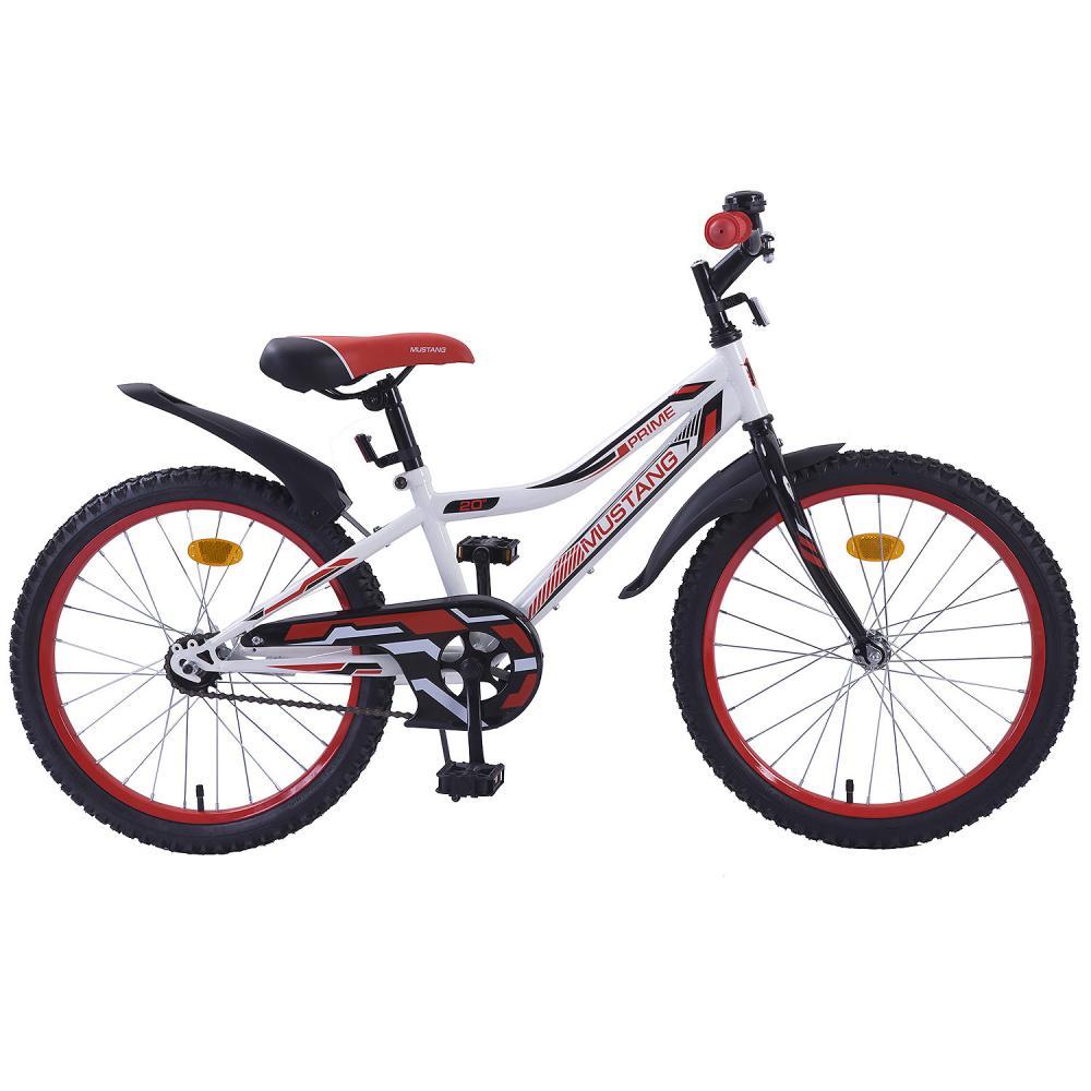 Купить Велосипед бело-красный подростковый с колесами 20' Mustang Prime, Nx-тип, задний ножной тормоз, звонок