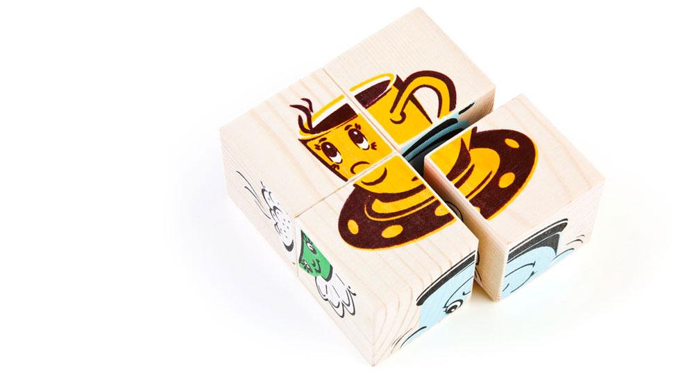 Набор из 4-х кубиков - Посуда из серии Собери картинкуКубики<br>Набор из 4-х кубиков - Посуда из серии Собери картинку<br>