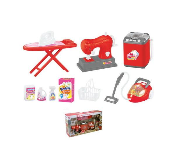 Набор для маленькой хозяйки: стиральная машина, пылесос, швейная машинка, гладильная доска с утюгомУборка дома, стирка, глажка<br>Набор для маленькой хозяйки: стиральная машина, пылесос, швейная машинка, гладильная доска с утюгом<br>