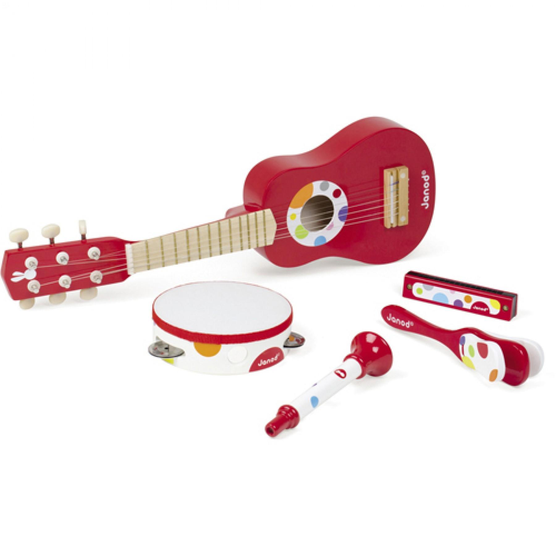 Набор красных музыкальных инструментов  гитара, бубен, губная гармошка, дудочка, трещотка - Музыкальные наборы, артикул: 160417