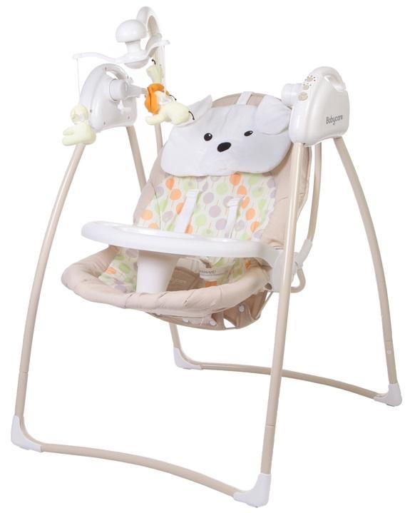 Электрокачели Baby Care Butterfly с адаптером, BeigeЭлектронные качели для детей<br>Электрокачели Baby Care Butterfly с адаптером, Beige<br>